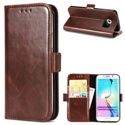 Luxury Crazy Horse PU Leather Wallet Case for Samsung Galaxy S6 Edge G925 - Coffee