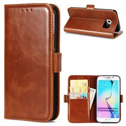 Luxury Crazy Horse PU Leather Wallet Case for Samsung Galaxy S6 Edge G925 - Brown
