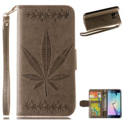 Intricate Embossing Maple Leather Wallet Case for Samsung Galaxy S6 Edge G925 - Gray