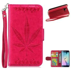 Intricate Embossing Maple Leather Wallet Case for Samsung Galaxy S6 Edge G925 - Rose