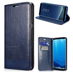 Magnetic Suck Stitching Slim Leather Wallet Case for Samsung Galaxy S6 Edge G925 - Sapphire