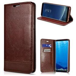 Magnetic Suck Stitching Slim Leather Wallet Case for Samsung Galaxy S6 Edge G925 - Brown