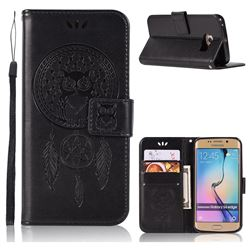 Intricate Embossing Owl Campanula Leather Wallet Case for Samsung Galaxy S6 Edge G925 - Black
