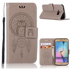 Intricate Embossing Owl Campanula Leather Wallet Case for Samsung Galaxy S6 Edge G925 - Grey