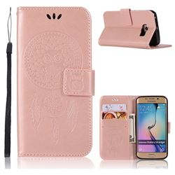 Intricate Embossing Owl Campanula Leather Wallet Case for Samsung Galaxy S6 Edge G925 - Rose Gold