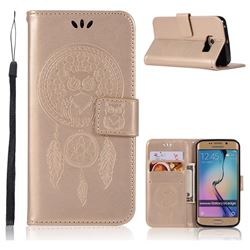 Intricate Embossing Owl Campanula Leather Wallet Case for Samsung Galaxy S6 Edge G925 - Champagne