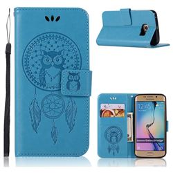Intricate Embossing Owl Campanula Leather Wallet Case for Samsung Galaxy S6 Edge G925 - Blue