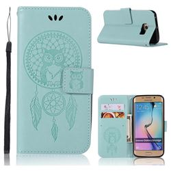 Intricate Embossing Owl Campanula Leather Wallet Case for Samsung Galaxy S6 Edge G925 - Green