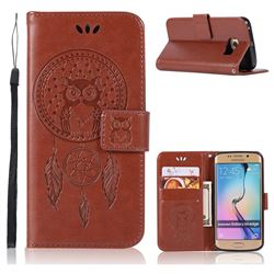 Intricate Embossing Owl Campanula Leather Wallet Case for Samsung Galaxy S6 Edge G925 - Brown