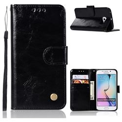 Luxury Retro Leather Wallet Case for Samsung Galaxy S6 Edge G925 - Black
