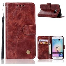 Luxury Retro Leather Wallet Case for Samsung Galaxy S6 Edge G925 - Wine Red