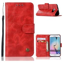 Luxury Retro Leather Wallet Case for Samsung Galaxy S6 Edge G925 - Red