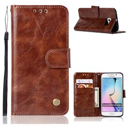 Luxury Retro Leather Wallet Case for Samsung Galaxy S6 Edge G925 - Brown