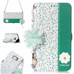 Magnolia Endeavour Florid Pearl Flower Pendant Metal Strap PU Leather Wallet Case for Samsung Galaxy S6 Edge G925