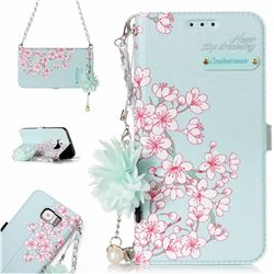 Cherry Blossoms Endeavour Florid Pearl Flower Pendant Metal Strap PU Leather Wallet Case for Samsung Galaxy S6 Edge G925