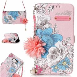 Pink Blue Rose Endeavour Florid Pearl Flower Pendant Metal Strap PU Leather Wallet Case for Samsung Galaxy S6 Edge G925