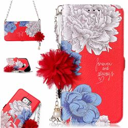 Red Chrysanthemum Endeavour Florid Pearl Flower Pendant Metal Strap PU Leather Wallet Case for Samsung Galaxy S6 Edge G925