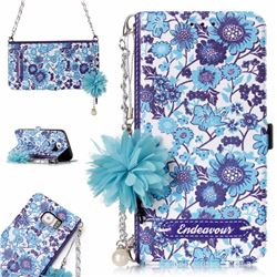 Blue-and-White Endeavour Florid Pearl Flower Pendant Metal Strap PU Leather Wallet Case for Samsung Galaxy S6 Edge G925