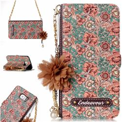 Impatiens Endeavour Florid Pearl Flower Pendant Metal Strap PU Leather Wallet Case for Samsung Galaxy S6 Edge G925