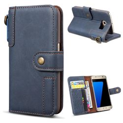 Retro Luxury Cowhide Leather Wallet Case for Samsung Galaxy S6 Edge G925 - Blue