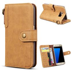 Retro Luxury Cowhide Leather Wallet Case for Samsung Galaxy S6 Edge G925 - Brown