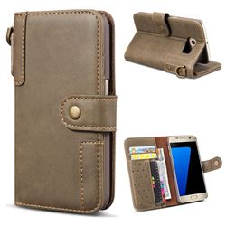 Retro Luxury Cowhide Leather Wallet Case for Samsung Galaxy S6 Edge G925 - Coffee