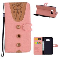 Ladies Bow Clothes Pattern Leather Wallet Phone Case for Samsung Galaxy S6 Edge G925 - Pink