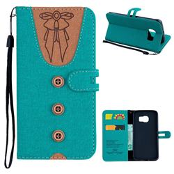 Ladies Bow Clothes Pattern Leather Wallet Phone Case for Samsung Galaxy S6 Edge G925 - Green