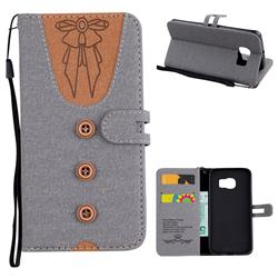 Ladies Bow Clothes Pattern Leather Wallet Phone Case for Samsung Galaxy S6 Edge G925 - Gray