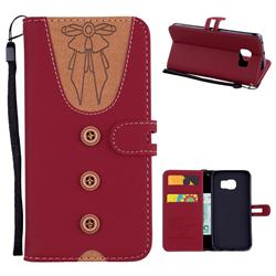 Ladies Bow Clothes Pattern Leather Wallet Phone Case for Samsung Galaxy S6 Edge G925 - Red