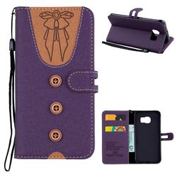 Ladies Bow Clothes Pattern Leather Wallet Phone Case for Samsung Galaxy S6 Edge G925 - Purple