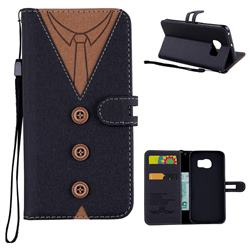 Mens Button Clothing Style Leather Wallet Phone Case for Samsung Galaxy S6 Edge G925 - Black