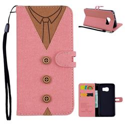 Mens Button Clothing Style Leather Wallet Phone Case for Samsung Galaxy S6 Edge G925 - Pink