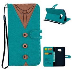 Mens Button Clothing Style Leather Wallet Phone Case for Samsung Galaxy S6 Edge G925 - Green