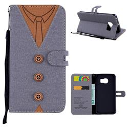 Mens Button Clothing Style Leather Wallet Phone Case for Samsung Galaxy S6 Edge G925 - Gray
