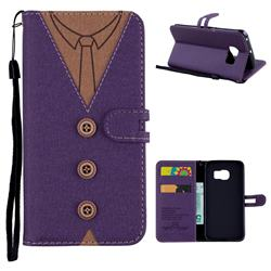 Mens Button Clothing Style Leather Wallet Phone Case for Samsung Galaxy S6 Edge G925 - Purple