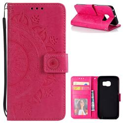 Intricate Embossing Datura Leather Wallet Case for Samsung Galaxy S6 Edge G925 - Rose Red