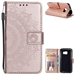 Intricate Embossing Datura Leather Wallet Case for Samsung Galaxy S6 Edge G925 - Rose Gold
