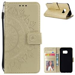 Intricate Embossing Datura Leather Wallet Case for Samsung Galaxy S6 Edge G925 - Golden