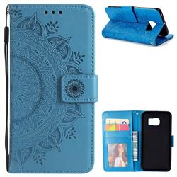Intricate Embossing Datura Leather Wallet Case for Samsung Galaxy S6 Edge G925 - Blue