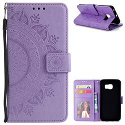 Intricate Embossing Datura Leather Wallet Case for Samsung Galaxy S6 Edge G925 - Purple