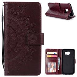 Intricate Embossing Datura Leather Wallet Case for Samsung Galaxy S6 Edge G925 - Brown
