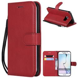 Retro Greek Classic Smooth PU Leather Wallet Phone Case for Samsung Galaxy S6 Edge G925 - Red