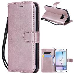 Retro Greek Classic Smooth PU Leather Wallet Phone Case for Samsung Galaxy S6 Edge G925 - Rose Gold