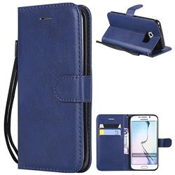 Retro Greek Classic Smooth PU Leather Wallet Phone Case for Samsung Galaxy S6 Edge G925 - Blue
