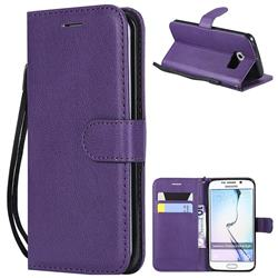 Retro Greek Classic Smooth PU Leather Wallet Phone Case for Samsung Galaxy S6 Edge G925 - Purple