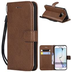 Retro Greek Classic Smooth PU Leather Wallet Phone Case for Samsung Galaxy S6 Edge G925 - Brown