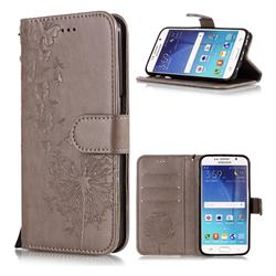 Intricate Embossing Dandelion Butterfly Leather Wallet Case for Samsung Galaxy S6 Edge G925 - Gray
