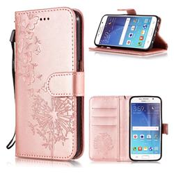 Intricate Embossing Dandelion Butterfly Leather Wallet Case for Samsung Galaxy S6 Edge G925 - Rose Gold