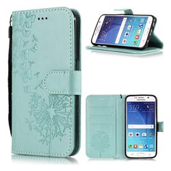 Intricate Embossing Dandelion Butterfly Leather Wallet Case for Samsung Galaxy S6 Edge G925 - Green